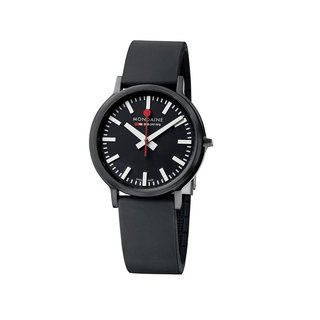 The Stop2Go Watch from Swiss Company Mondaine takes the classic Swiss Railway Clock and reimagines it as a sophisticated wristwatch. Modeled after the Swiss Railway Clock designed by Hans Hilfiker in 1944, the watch captures the clock's classic red second hand, along with its subtle twist. The red hand sweeps a full circle in 58 seconds—instead of the typical 60 seconds—and pauses for two seconds at 12 o'clock so the black minute hand can advance.
