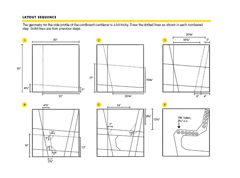 Use these drawings to create the dotted lines on the side of the chair.  Photo 3 of 3 in You Can Make a DIY Cardboard Chair This Weekend