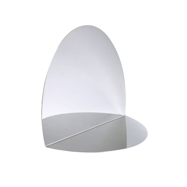 A true piece of art made from an oval stainless steel sheet, folded and polished by hand, the Anamorphosis Mirror creates a silver disc in an angle of the room, like an eyelet opening onto a new moving space.