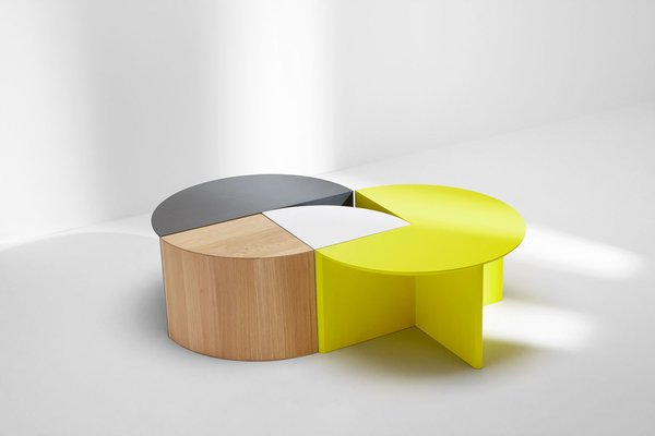 H Furniture's Pie Chart System is a modular collection that forms countless coffee and side table configurations.