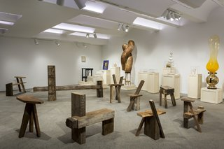 "Working under the concept of ""improvised carpentry,"" Chilean architect and carpenter Nicolás Aracena Müller has created a series of furniture pieces, using scraps of wood found across New York City. The collection, ""Atalaya,"" is on view at Chamber through Sept. 23."