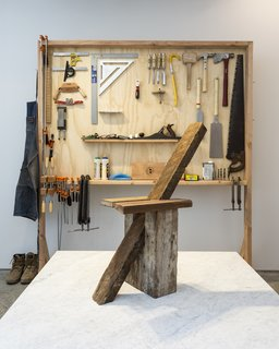 The furniture pieces are the result of a ten-day, in-gallery performance in which Müller transformed Chamber into a design studio, working under the constraints of a West Chelsea gallery space. Shown are a series of his self-fabricated hand tools used to make each piece.