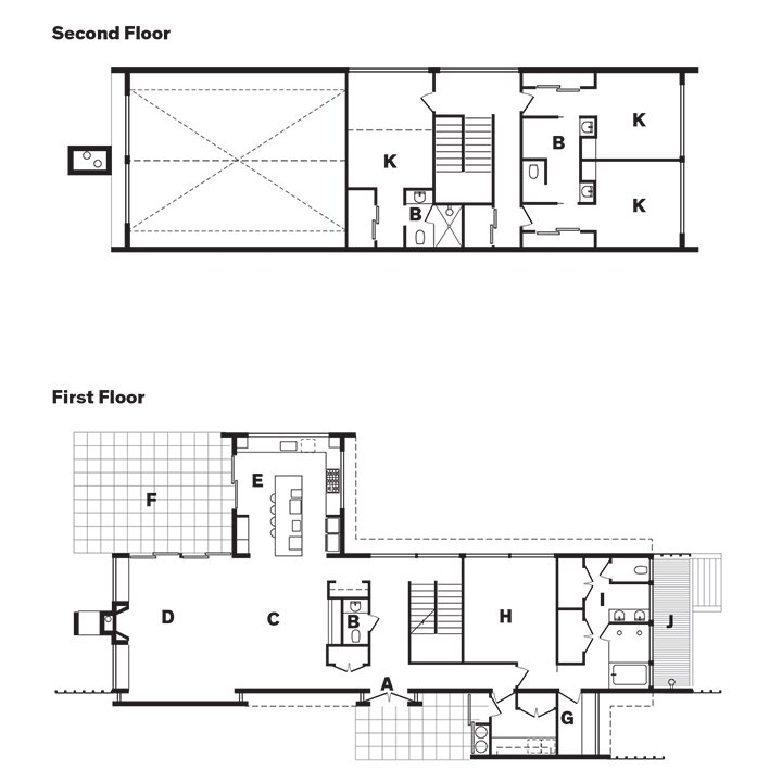 Weinstein Residence Floor Plan  A    Entry  B    Bathroom  C    Dining Area  D    Living Area  E    Kitchen  F    Terrace  G    Office  H    Master Bedroom  I    Master Bathroom  J    Outdoor Shower  K    Bedroom  Photo 12 of 12 in Art-Filled Hamptons Vacation Home