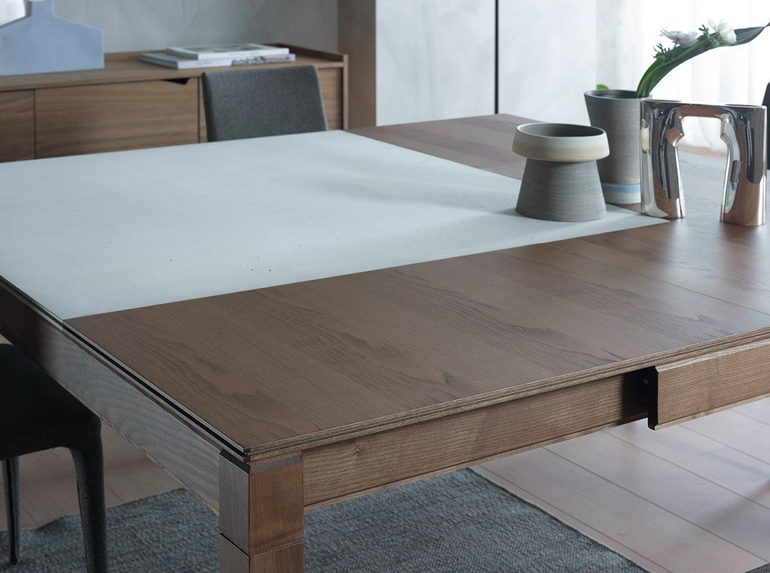 The innovative Plurimo extension table can be expanded in both width and length, making it the ideal addition for parties and holidays.  Get an Advance Look at the New Collections Resource Furniture Is Bringing to Dwell on Design New York by Luke Hopping