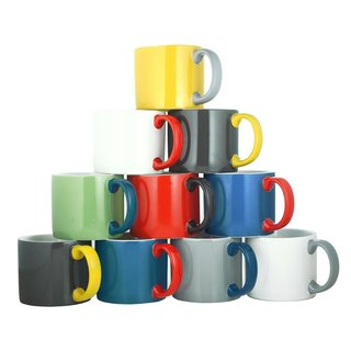 Known for its use of bold color combinations, Jansen+co's tabletop products combine high quality industrial production with a careful hand finish. A part of the My Mug series, this XL mug is just the vessel to deliver an extra-large serving of morning coffee. This My Mug features a classic shape with a contrasting handle for a distinctive look that—along with that coffee—will brighten your morning.   This best-selling product is now on sale.