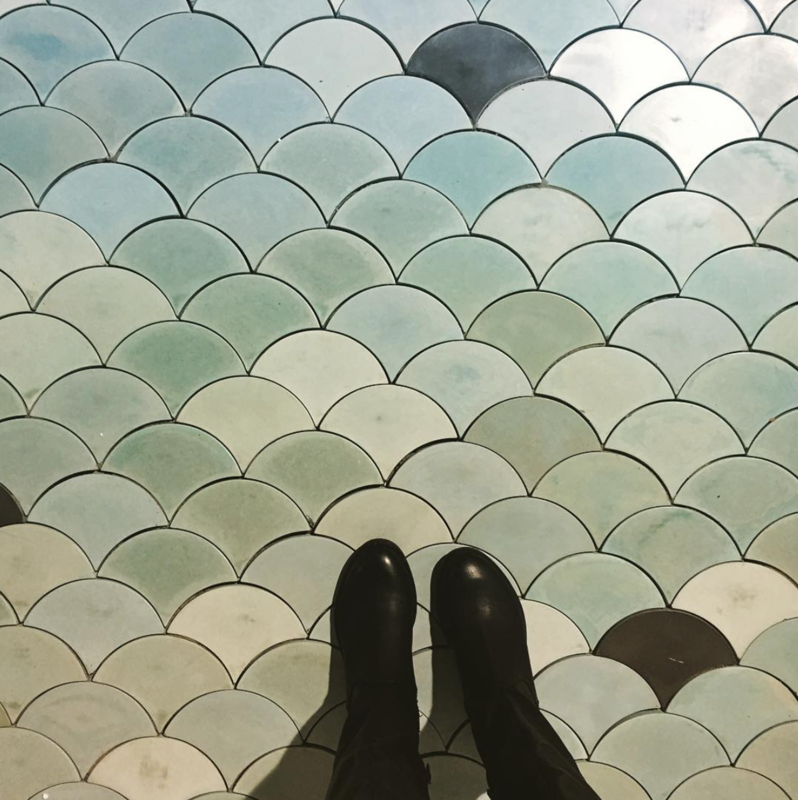 @concretecollaborative shared a shot of their colorful concrete tiles.  Dwell on Design New York: Day One Highlights by Dwell