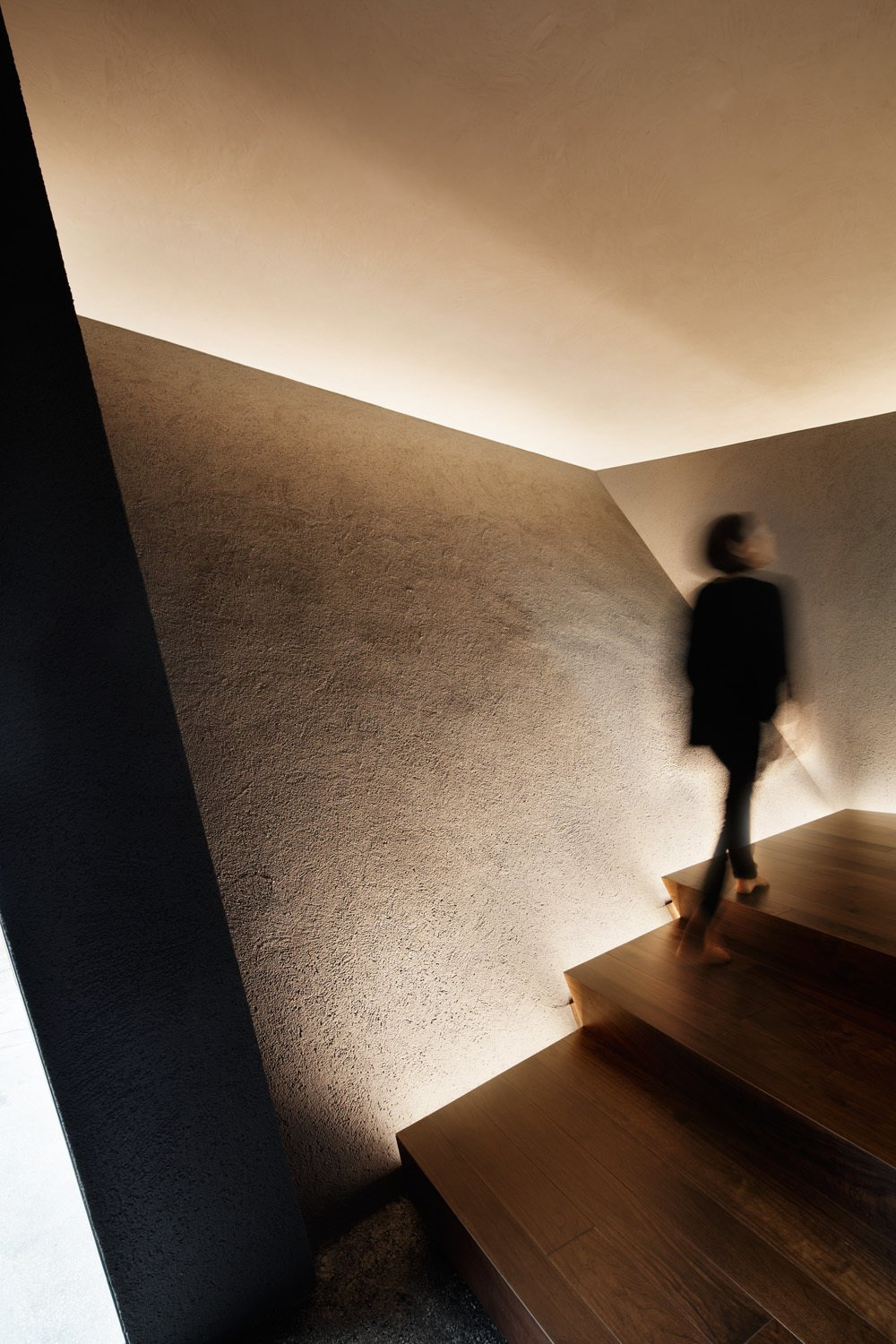 Walnut stairs are side-lit by LEDs.  SRK by Caroline Wallis