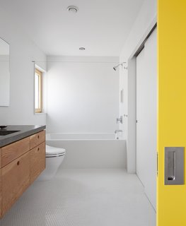 In the bathroom, plywood cabinets by Doug Chamblin support a concrete countertop Stern designed himself. A Toto toilet, Americh tub, Duravit sink, and Danze Parma faucet round out the space.