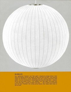 """This vintage advertisement features George Nelson's Ball Pendant Light. The beginning of the caption reads: """"Airy, lighthearted 'Bubbles' and 'Net Lights,' designed by George Nelson, make lamps and lighting fixtures that delight the eyes and warm the heart. Their pleasing shapes are fashioned in sturdy, lightweight steel and a special translucent white plastic.""""  The Ball pendant is available at the Dwell Store in a range of sizes."""