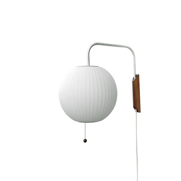 Rounding out the range of Bubble Lamps is Nelson's Ball Wall Sconce, which features a walnut wood wall mount.