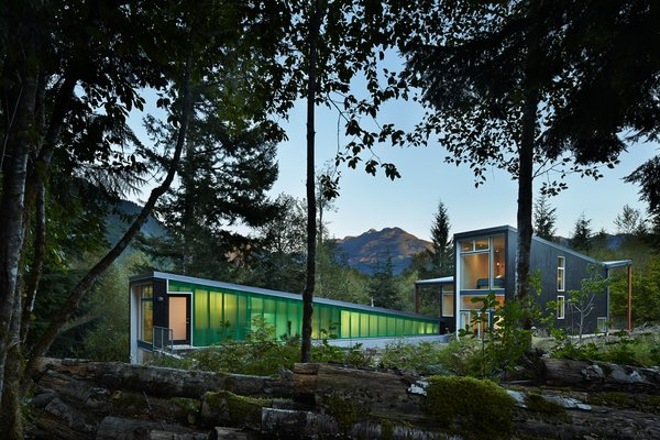 """""""I wanted the buildings to be crisp, bold, and clean,"""" Coleman said. Exterior vertical siding is made from locally sourced cedar stained in a """"hazelnut"""" shade by Sikkens Cetol SRD."""