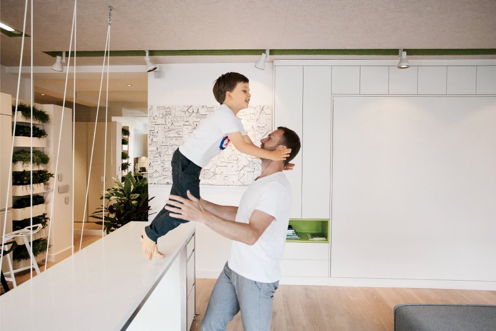 """Parzyszek claims he once fit """"40 or 50 people"""" in his home for a party.  Photo 10 of 12 in This Tiny Warsaw Studio Instantly Changes from Office to Playroom"""