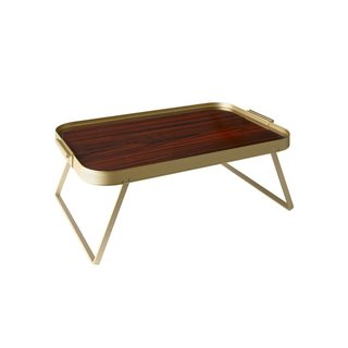 The Kaymet Rosewood Lap Table is a sophisticated addition to a serveware collection. First designed in 1965, the Lap Table Tray includes two side handles for easy transport and folding legs that make the serving tray into a table in one easy step. The Rosewood Lap Table is constructed in gold tone anodized aluminum with a luxe rosewood tabletop, making this utilitarian accessory elegant and refined. Use this piece to add surface area to coffee table or dining table by elevating appetizers, cocktails, or even a centerpiece.
