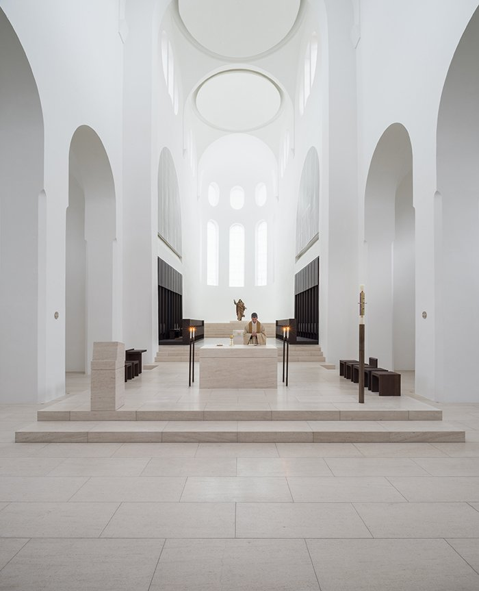 Thin slices of onyx covering the windows diffuse natural light and draw the eye toward the apse.  Photo 8 of 21 in You Won't Believe That These Incredible Modern Buildings are Chapels and Synagogues