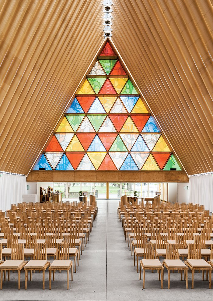 Pritzker Prize winner Shigeru Ban used his cardboard tube system for a temporary cathedral in Christchurch, New Zealand, that opened in 2013.  Photo 10 of 21 in You Won't Believe That These Incredible Modern Buildings are Chapels and Synagogues