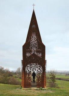 The Belgian firm Gijs Van Vaerenbergh constructed a see-through steepled chapel in Cor-Ten steel in 2011.