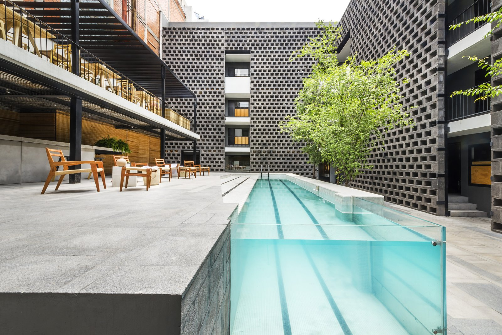 Outdoor, Walkways, Trees, Large Patio, Porch, Deck, Concrete Patio, Porch, Deck, Hardscapes, and Lap Pools, Tubs, Shower Originally dating to the 1970s, Hotel Carlota was revamped by JSa Arquitectura and completed in 2015. As part of the renovation, a pool became the focal point of the courtyard, and its modernized, streamlined design makes a dramatic statement.  Hotel Carlota from This Mexico City Hotel is a Showcase of New Mexican Design