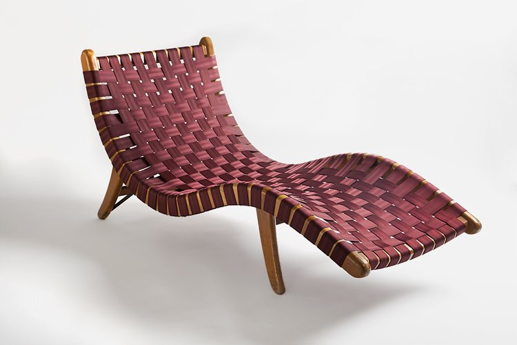 Primavera wood and palm comprise this sinuous woven lounge designed by Michael van Beuren, Klaus Grabe, and Morley Webb in 1950.  Photo 3 of 8 in Discover Midcentury Modern Masterpieces from Brazil, Mexico, and Venezuela