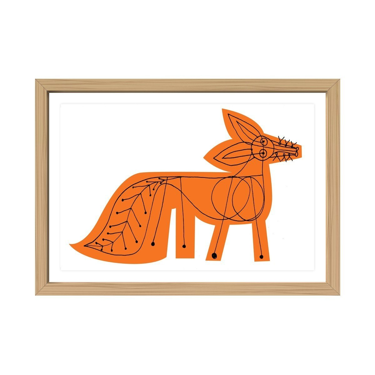 """Created by Brooklyn–based designer Mark McGinnis, this Orange Fox Framed Print is a part of the designer's Menagerie Collection of prints.  Search """"stockholm elevations architectural print maple frame"""" from Autumnal Color Crush: 10 Designs in Eye-Catching Orange"""