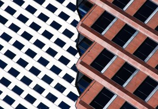 "Ripped, 2014. ""The angled top floors of this dark red office building in New Orleans, Louisiana, provide an interesting collage with the white building a few blocks down the street,"" says Olic. Combining the two is a simple photographic idea of a structure ripped into two distinct parts."""