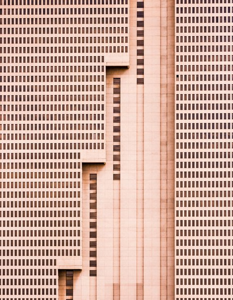"Stairs, 2014. ""The tallest building in Fort Worth, Texas, this simple brutalist architectural design is a unique addition to the vibrant and growing downtown landscape, with a strong, repetitive pattern of windows being interrupted by meticulous, powerful vertical lines,"" says Olic."