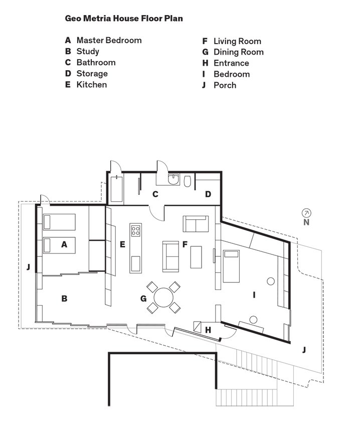 Geo Metria House Floor Plan  Photo 8 of 8 in Japanese Home Among the Trees Uses Bookshelves and Glass for Walls