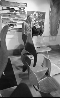 In 1977, favorite California's midcentury modern pioneers Charles and Ray Eames exhibited a selection of their bent plywood pieces at Washington University, including the leg splints they produced as part of the war effort in 1942, shown here hanging on the wall. Charles also studied architecture at Washington University, briefly, on scholarship for two years.  Credit: Charles Eames Archive, University Archives, Department of Special Collections, Washington University Libraries