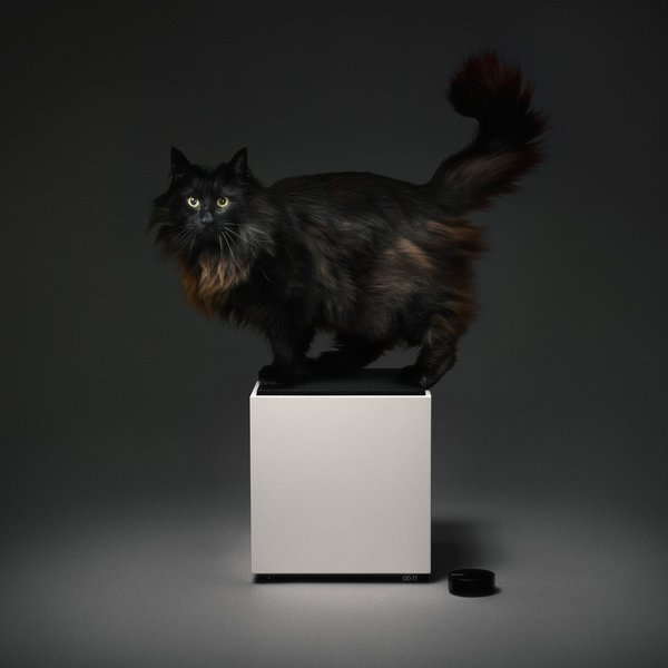 Here, Teenage Engineering's masterful take on the Carlsson Loudspeaker shows off its sleek white cabinet and black grille. The optional Ortho Remote is also shown. Unfortunately, the cat is not included.