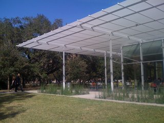 A simple landmark in the midst of Rice University's carefully landscaped campus (another destination Robertson recommends), the Brochstein Pavilion was designed by architect Thomas Phifer and completed in 2007.