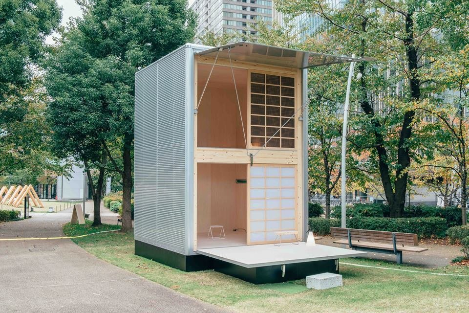 With a footprint of just 106 square feet, this Muji Hut prefab unit by German designer Konstantin Grcic makes a case for tiny, vertical living. The exterior is made from aluminum and wood.  Muji Hut Launches With 3 New Tiny Prefab Homes by Aileen Kwun