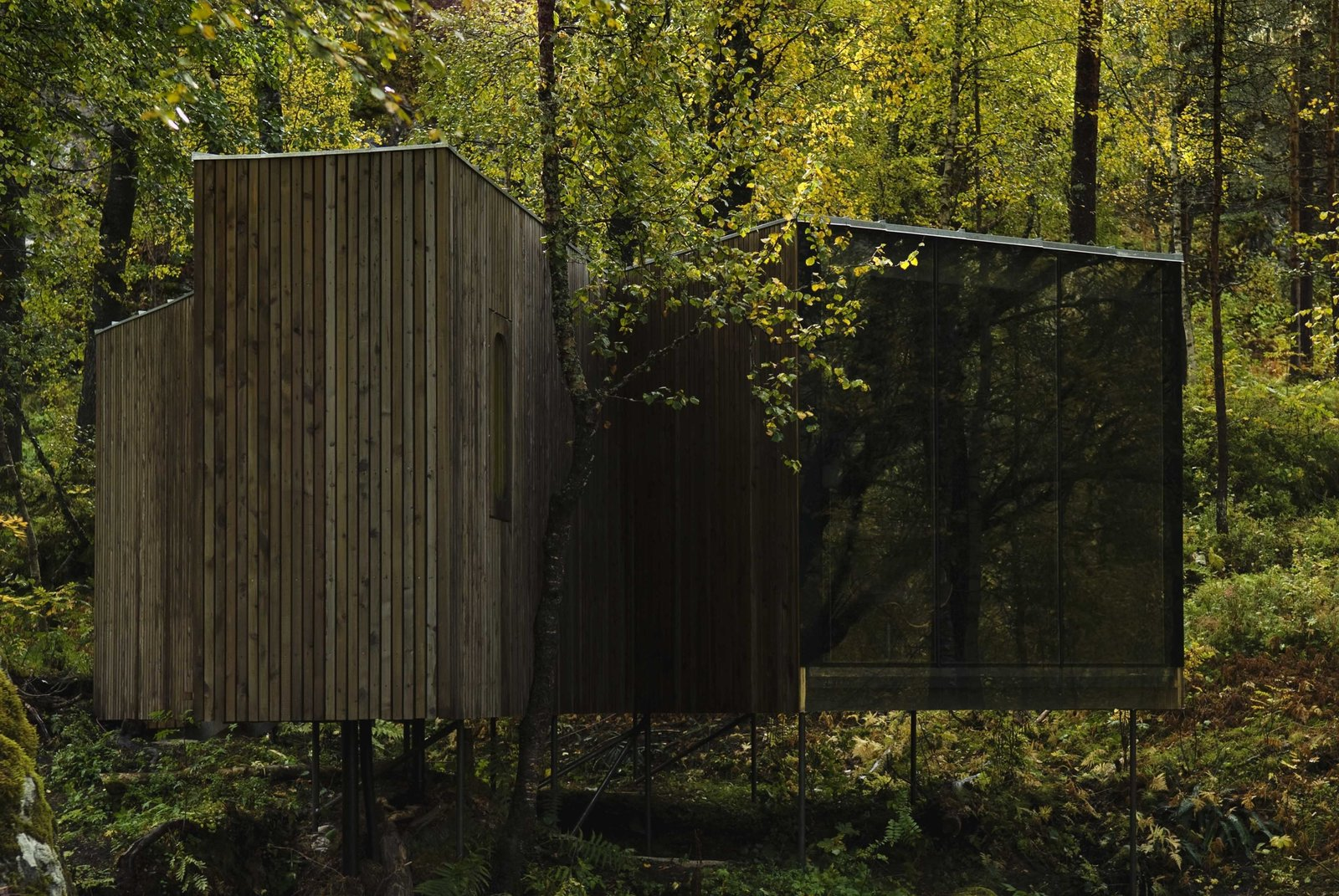 Designed by Jensen & Skovdin, the Juvet's first-generation cabins are built on stilts in order to impact the environment as little as possible. Despite the modernist aesthetic, the buildings were built by local craftsmen using traditional materials and techniques. Tagged: Exterior, House, Cabin Building Type, Wood Siding Material, Glass Siding Material, and Flat RoofLine.  Photo 55 of 101 in 101 Best Modern Cabins from Rustic Cabins Comprise This Impossibly Idyllic Hotel in Norway