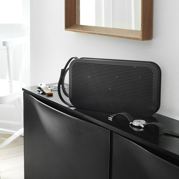 With its small size, premium full-grain leather strap, and 2.5lbs weight, the BeoPlay A2 Portable Bluetooth Speaker is an ideal sound system for any micro dwelling.  Its True360 sound guarantees full sound no matter how it lays on the floor (or is hung from the wall). 4.0 Bluetooth technology also means streaming will be smooth. The speaker comes in black (seen here) or grey with gold metallic accents.