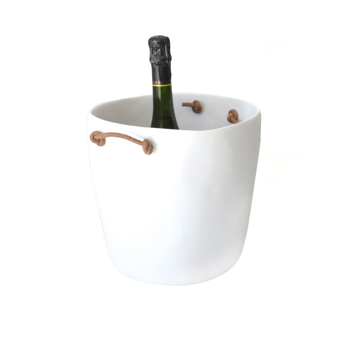 This champagne bucket by Tina Frey has a durable resin shell with knotted leather handles.  Modern Bar Accessories by Allie Weiss