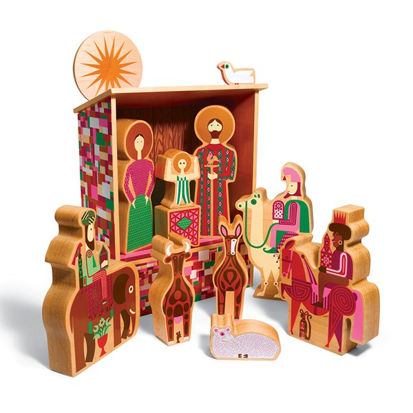 Alexander Girard nativity set by House Industries, $800.  The nativity is based on one of Alexander Girard's illustrations and is made from maple and Michigan-grown basswood.