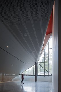 """The new 232 seat theater seems weightless within the stainless steel shell. """"It literally floats as an object free on all sides,"""" says Renfro, """"in a void above the film archives, studies centers, and education center. That glass allows the object to be seen from… above but it also lets light down to the study center and archives below.""""  The museum extends farther into the earth where some of the its artworks—which number 19,000 and range from contemporary photography to Neolithic ceramics—are on display. In contrast to the warehouse galleries, these subterranean exhibition spaces are more traditional, enclosed, rectangular galleries."""
