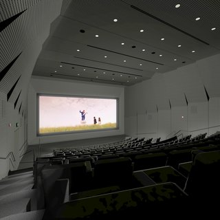 """A rendering of the main theater's interior; BAMPFA's collection includes more than 17,500 videos and films and features """"the largest collection of Japanese cinema outside Japan, impressive holdings of Soviet cinema, West Coast avant-garde film,"""" and more, according to the University."""
