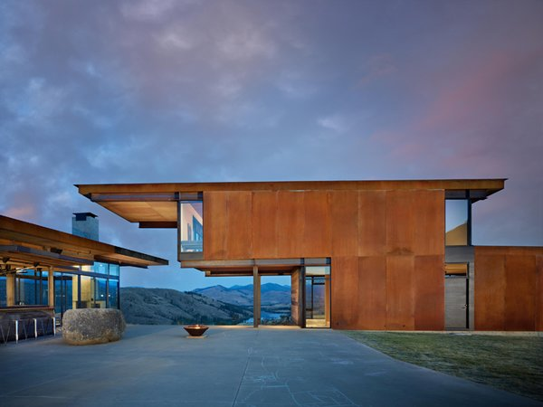 Olson Kundig Architects created Studhorse in Washington's remote Methow Valley as four structures oriented around a central courtyard, each positioned to best enjoy the surrounding vistas in all four seasons.