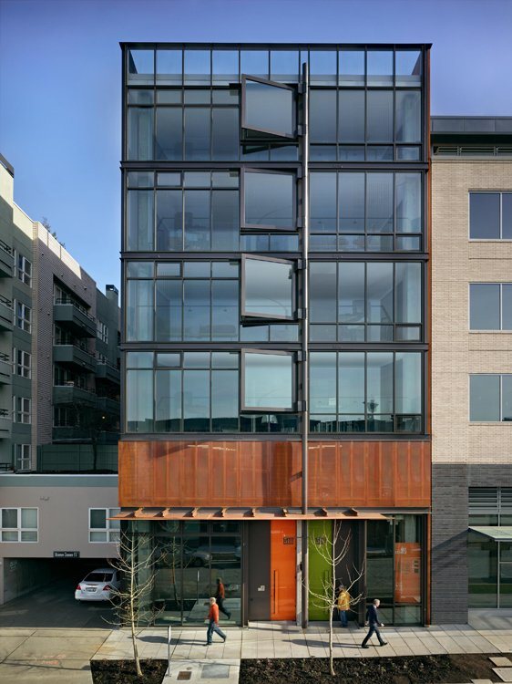 Exterior and Apartment Building Type In Seattle's rapidly developing South Lake Union neighborhood, the Art Stable is a classic example of urban infill. Built on the site of a former horse stable, the seven-story mixed-use building carries its history into the future with highly adaptable live/work units.  Photos from Discover the Work of a Leading Seattle Modernist
