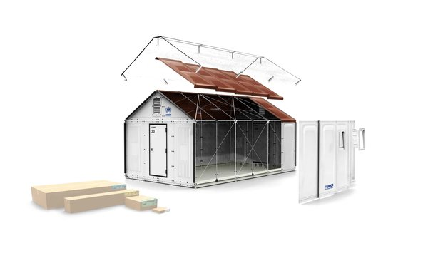 The structure, which consists of prefabricated panels, can be assembled on-site without any tools. A photovoltaic system can be attached.