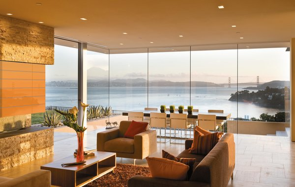 Architect Robert Swatt's Garay House in Marin County, California, has picture-perfect views of the San Francisco Bay. A number of outdoor spaces capitalize on its pristine location.