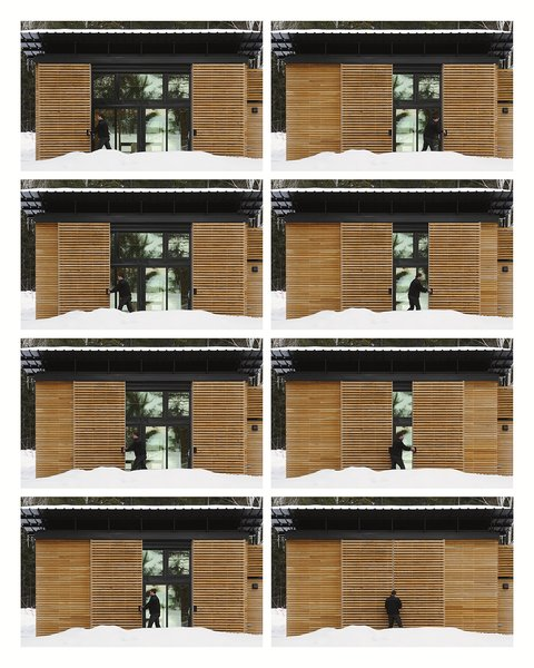 Their design took four months to construct. And much like their later project on the same property, the Nest, the EDGE cabin features a protective, movable screen: when not in use, these white oak panels slide inwards to sheild the cabin windows and doors.
