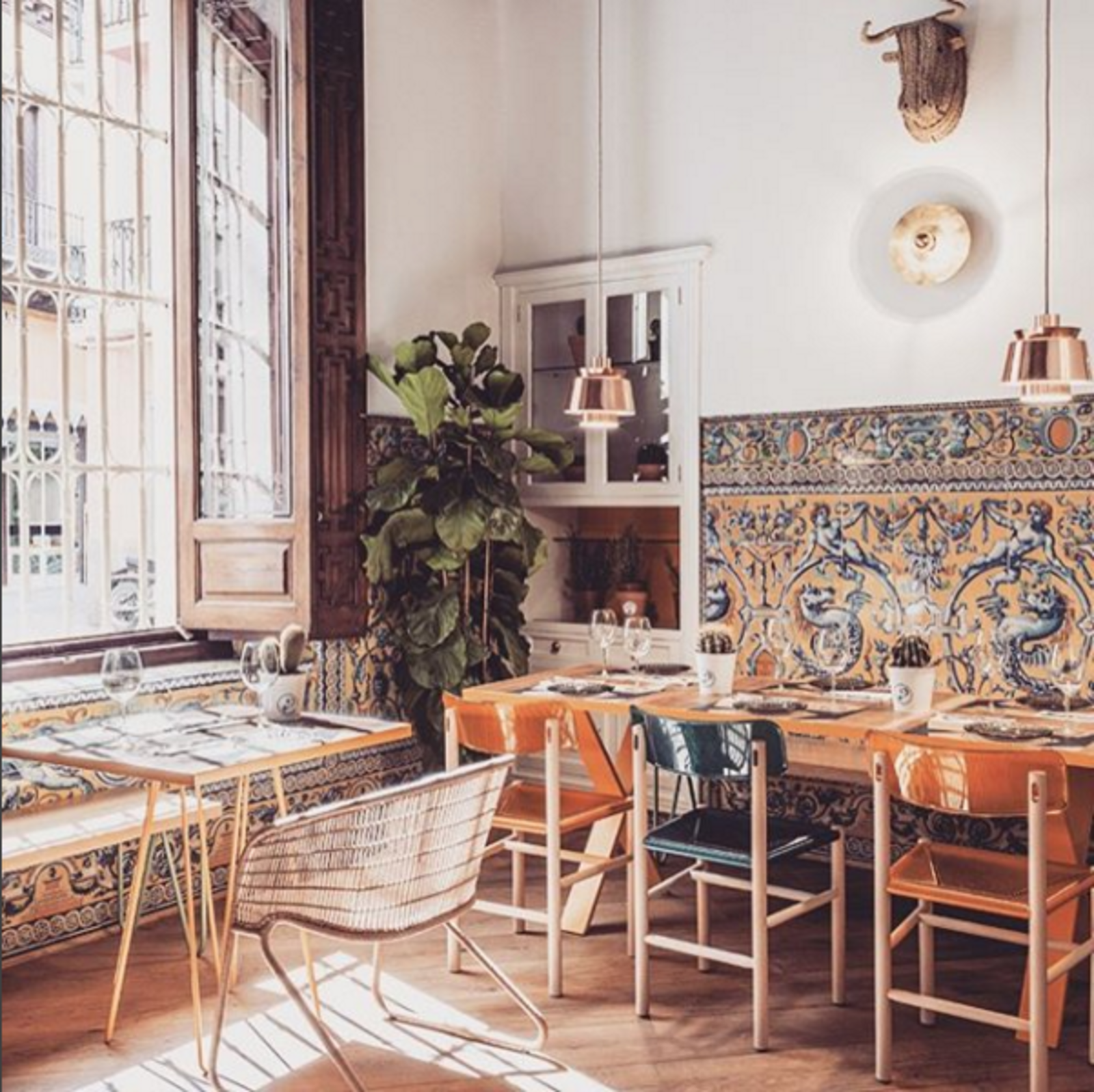 The restaurant El Pinton in Seville, Spain.  Mediterranean by Heather Corcoran from Instagram Account We Love: Finding the World's Best-Designed Hotels, Cafes, and More