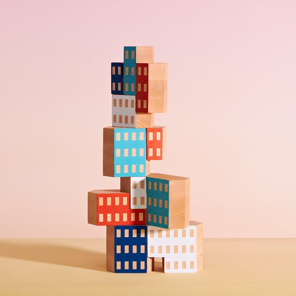 Blockitecture Wooden Blocks, $25 at the Dwell Store  This set of ten blocks takes classic building blocks to new, architectural heights. Each block is hand painted, giving the blocks a distinctive finish. Combine multiple sets to create tall towers or clusters of modern buildings.
