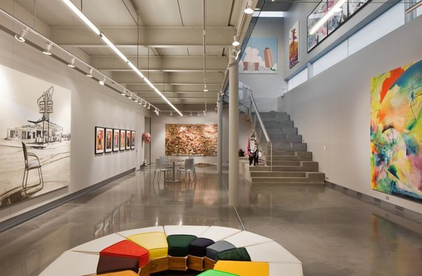 """A gallery occupies the lower level. """"The house really ended up becoming a vessel through which the art is experienced,"""" says Dolezal.  To learn more about how architects design around art collections, view our story on the Housemuseum in Melbourne, Australia."""