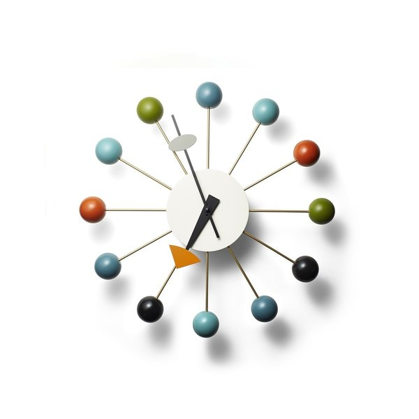 Nelson Ball Clock, $395 at the Dwell Store  An icon of midcentury design, the Ball Clock is a distinct departure from traditional clocks with faces enclosed in glass—alternatively, the Ball Clock is comprised of twelve brass spindles that end in solid hardwood spheres that mark the time, instead of a conventionally numbered face. Bold and colorful, this clock is a standout on a wall.  Mid Century Modern from Dwell Store Gift Guide: For the Midcentury Enthusiast