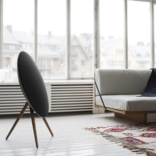 The BeoPlay A9 Speaker cuts an undeniably striking, almost aerodynamic, profile. It comes from the sound experts at Bang & Olufsen and connects to your devices via Apple Airplay, DLNA, or Bluetooth 4.0. It also features built-in access to Spotify Connect, Deezer, and TuneIn.