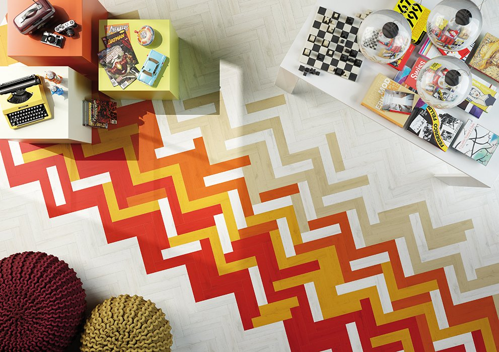 Living Room and Ceramic Tile Floor The tiles range from $10 to $22 per square foot.  50+ Modern Tile Ideas for Walls, Floors and Ceilings by William Lamb from Geometric Tile That Comes in 64 Hues Will Satisfy Your Decorating Dreams