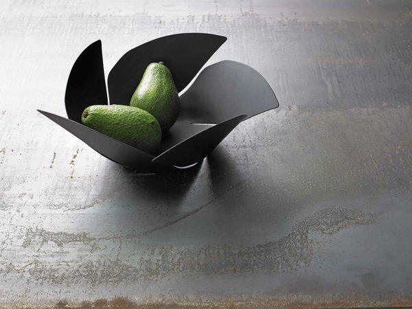 The Twist Again fruit bowl that Decq designed for Alessi is cut from a single piece of sheet metal.