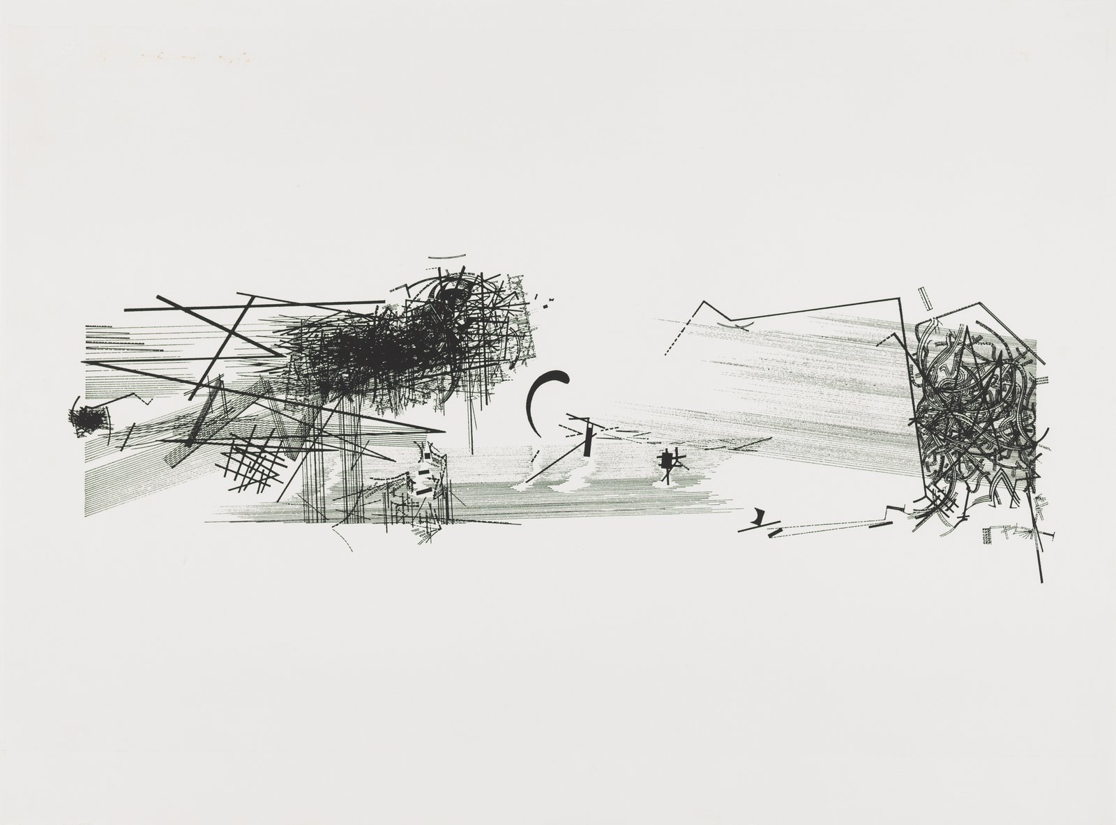 Daniel Libeskind, V – Horizontal, from the series Chamber Works: Architectural Meditations on Themes from Heraclitus, 1983.  Photo 1 of 8 in Early Drawings by Famous Architects