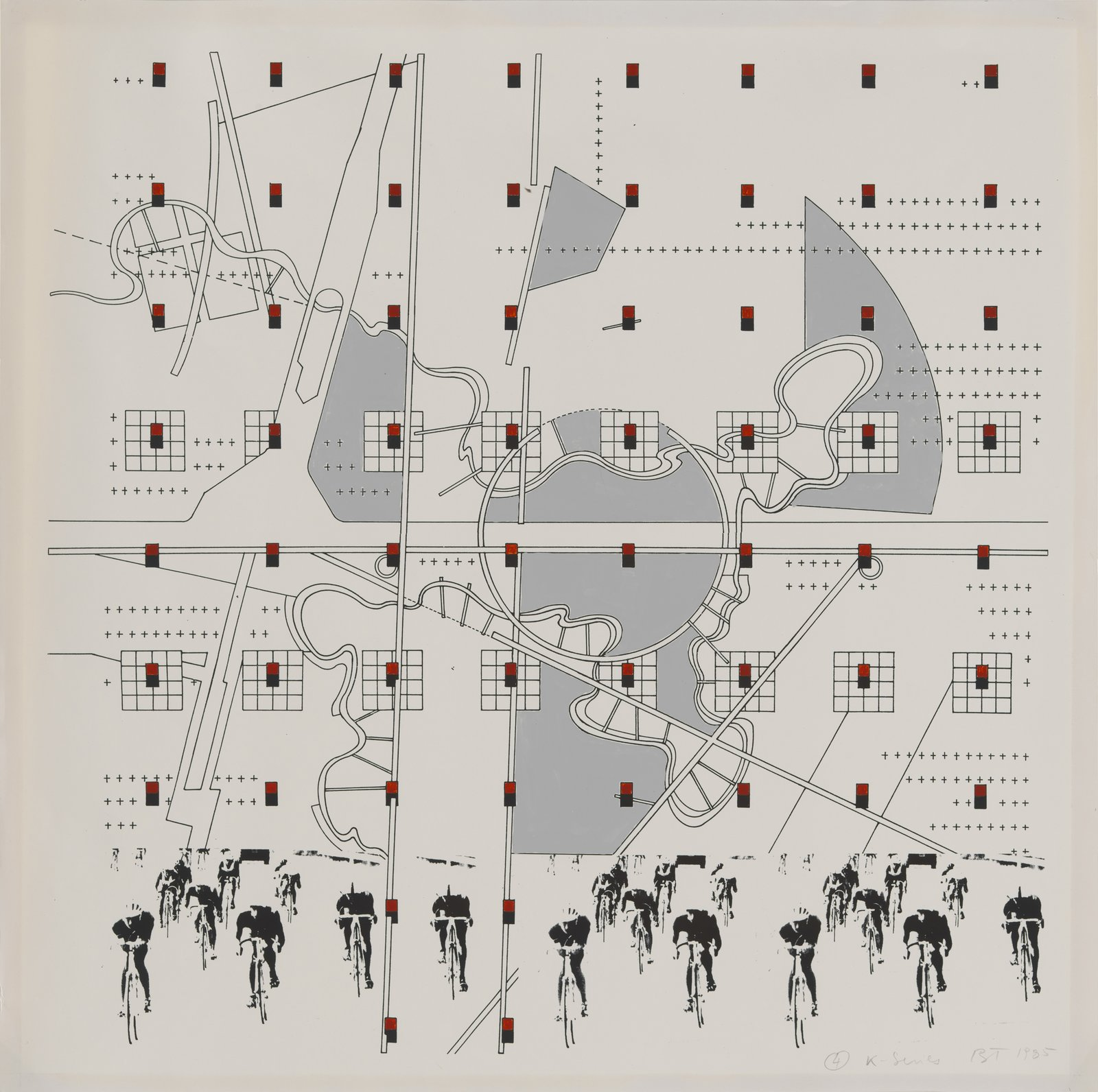 Bernard Tschumi, #4 K Series, 1985. Study for La Case Vide: La Villette, Folio VIII, 1985.  Photo 3 of 8 in Early Drawings by Famous Architects